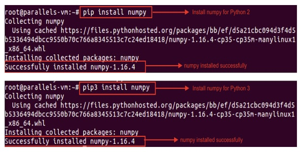 Commands to Install NumPy