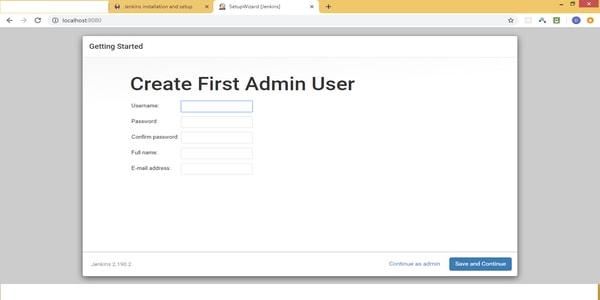 Creat first admin user