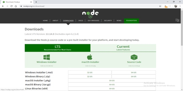 Installing the nodejs in the windows system