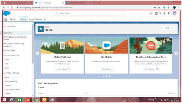 Salesforce developer account dashboard
