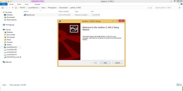 Start installing jenkins as windows service
