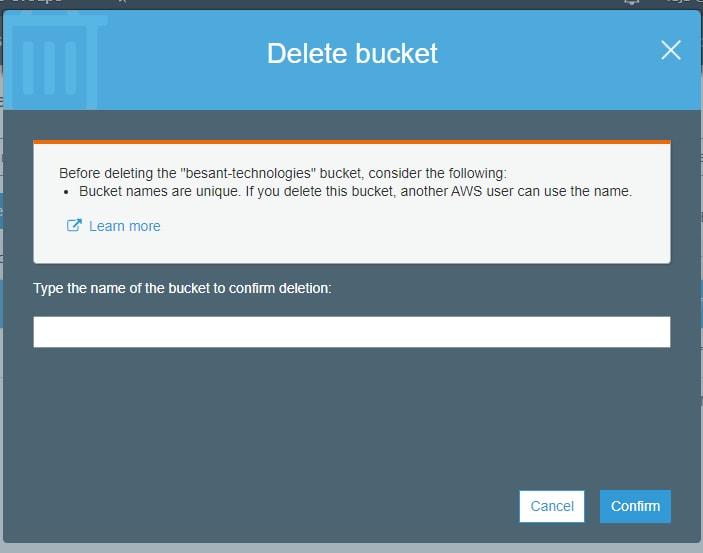Delete a bucket in S3