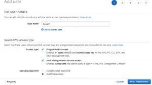 AWS IAM Adding User Details