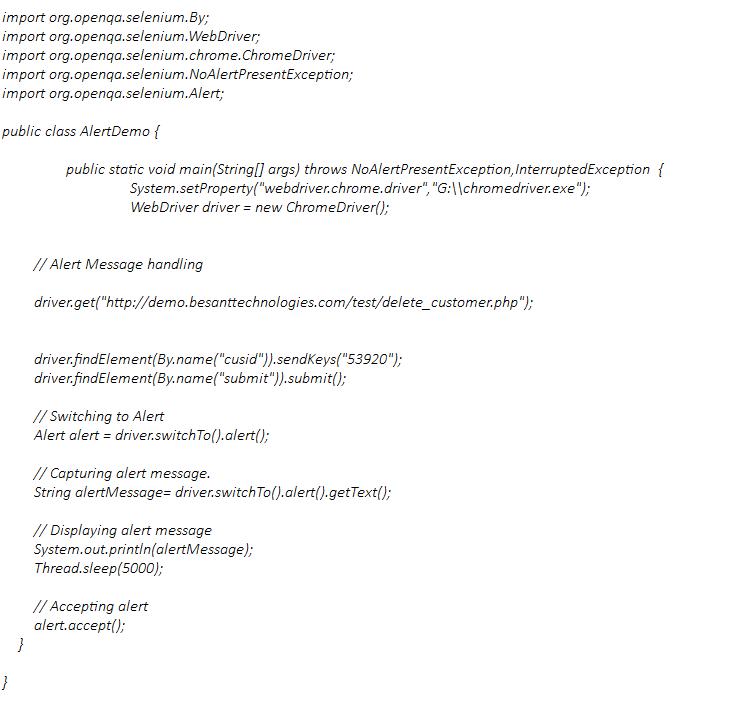 Handle Alert in Selenium Webdriver