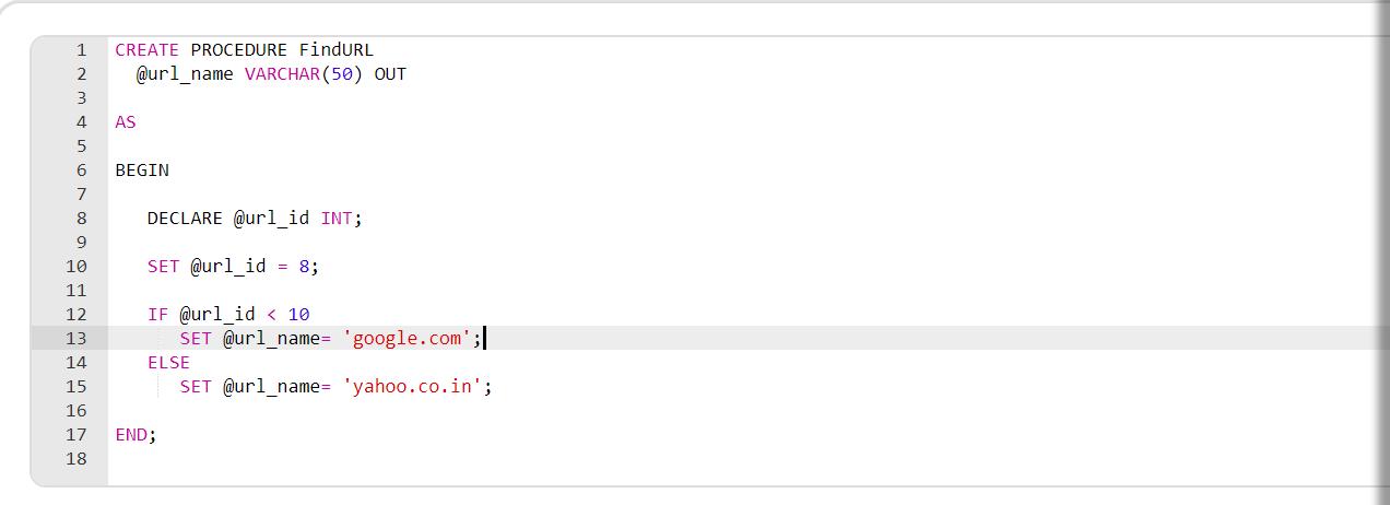 Procedure in SQL Example