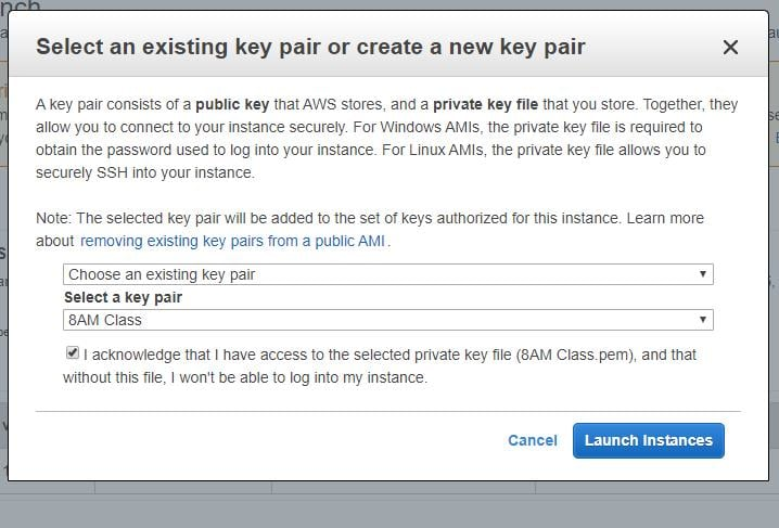 Select or Create Key Pair