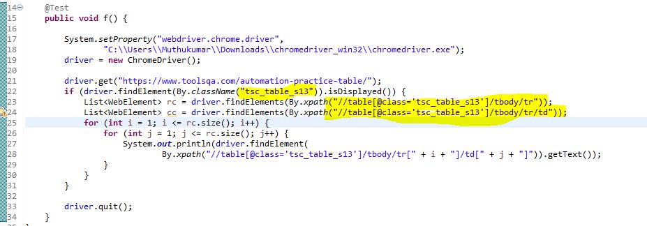 Selenium Webdriver Script