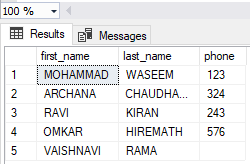 Table Values for Concatenation Example