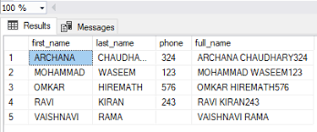 Table Values for Concatenation Output