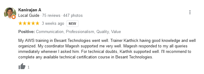 Besant Technologies Training Review